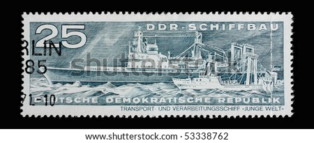 GERMANY - CIRCA 1971: A post stamp printed in Germany and shows cargo ships, series. Circa 1971.