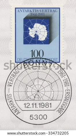 GERMANY - CIRCA 1981: A post stamp printed in Germany shows Antarctic Treaty, 20th anniversary, circa 1981 - stock photo