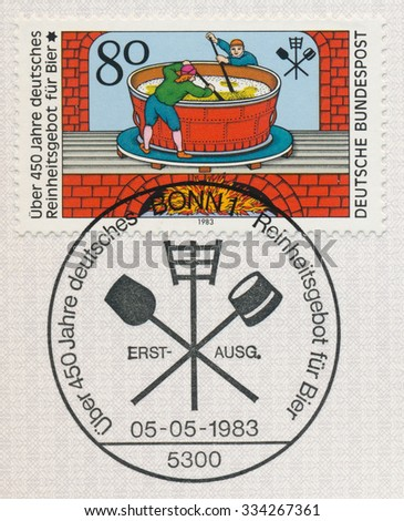 GERMANY - CIRCA 1983: A post stamp printed in Germany shows Beer Pureness Law, 450th Anniversary, circa 1983