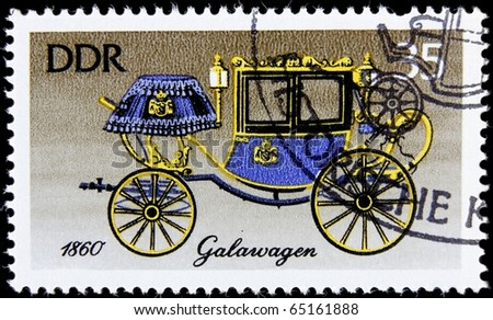 GERMANY- CIRCA 1985: A post stamp printed in Germany shows carriage, devoted the history of horse transport , series, circa 1985