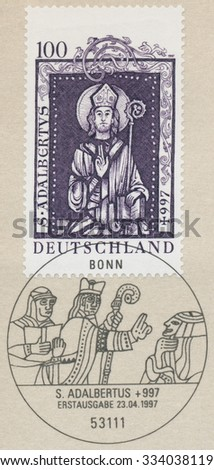 GERMANY - CIRCA 1997: A post stamp printed in Germany shows St. Adalbert (956-997), circa 1997
