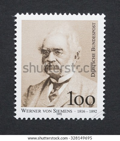 GERMANY - CIRCA 1992: a postage stamp printed in Germany showing an image of Werner von Siemens, circa 1992.