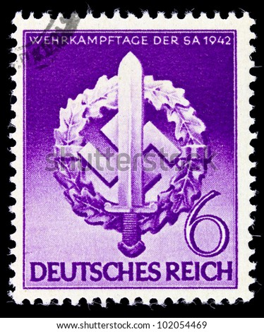 GERMANY - CIRCA 1942: A postage stamp printed in Germany shows the Swastika of the German Reich, circa 1942