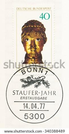 GERMANY - CIRCA 1977: A  postmark Germany, shows Barbarossa Head, Cappenberg Reliquary, Staufer Year 1977, circa 1977 - stock photo