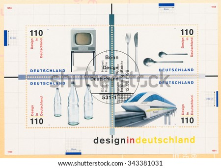 GERMANY - CIRCA 1999: A postmarks Germany, shows Designs: HF1 Television by H.Hirche 1958, cutlery by P. Raacke 1959, Pearl bottle by G. Kupetz 1969, Maglev train by A. Neumeister 1982, circa 1999 - stock photo