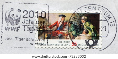 GERMANY - CIRCA 2010: A stamp devoted 300 years of porcelain production in Germany, series honoring 55 years of the Federal Republic of Germany, circa 2010