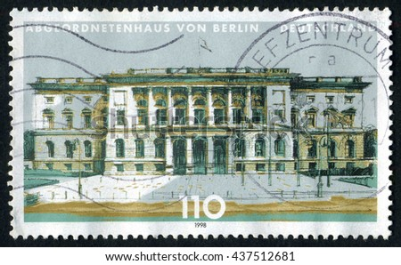 GERMANY - CIRCA 1998: A stamp printed by Germany, shows Berlin, Europe, circa 1998  - stock photo