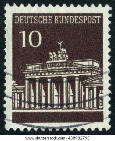 GERMANY - CIRCA 1967: A stamp printed by Germany, shows Brandenburg Gate, Berlin, Europe, circa 1967 - stock photo