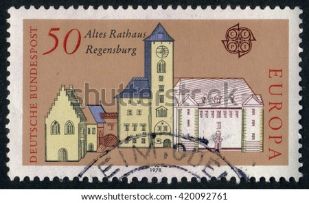 GERMANY - CIRCA 1978: A stamp printed by Germany, shows city, Europe, medieval city, circa 1978  - stock photo