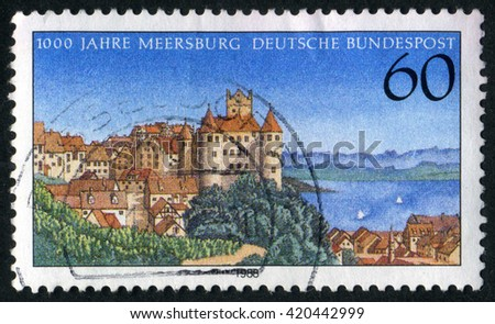 GERMANY - CIRCA 1988: A stamp printed by Germany, shows city, Europe, medieval city, circa 1988 - stock photo