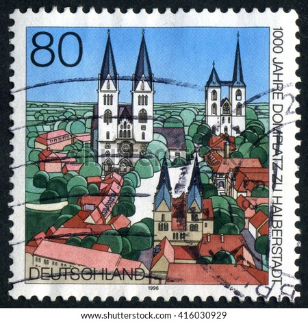 GERMANY - CIRCA 1996: A stamp printed by Germany, shows city, Europe, medieval city, Gothic Cathedral, circa 1996 - stock photo