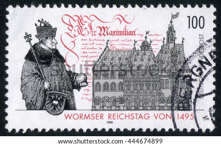 GERMANY - CIRCA 1995: A stamp printed by Germany, shows, Europe, Worms, medieval architecture circa 1995 - stock photo