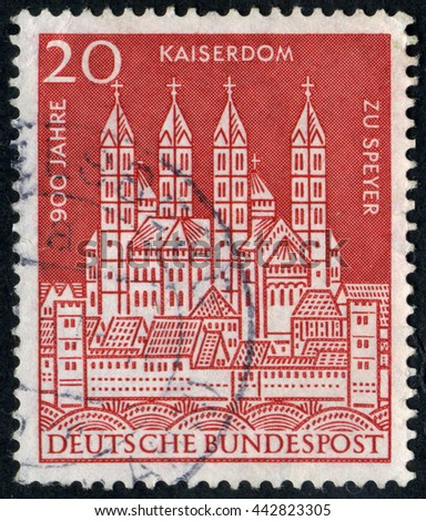 GERMANY - CIRCA 1966: A stamp printed by Germany, shows gate, Europe, medieval architecture circa 1966 - stock photo