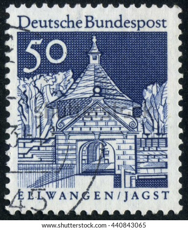 GERMANY - CIRCA 1966: A stamp printed by Germany, shows gate, Europe, vintage architecture circa 1966 - stock photo