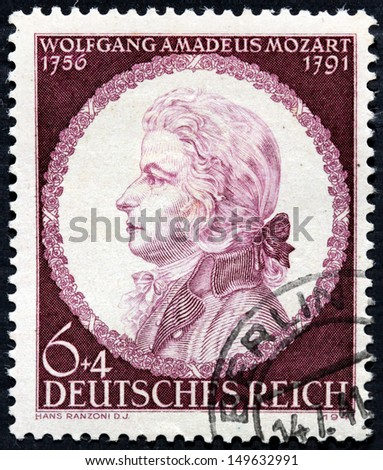 GERMANY - CIRCA 1941: a stamp printed by GERMANY shows image portrait of famous Austrian composer Wolfgang Amadeus Mozart, circa 1941. - stock photo