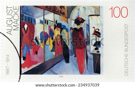 GERMANY - CIRCA 1992: A stamp printed by GERMANY shows painting Fashion Store by August Macke - one of the leading members of German Expressionist group The Blue Rider, circa 1992 - stock photo