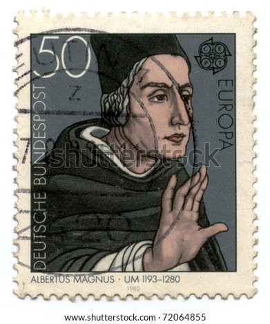 GERMANY - CIRCA 1980: A stamp printed by Germany shows portrait of Albertus Magnus, circa 1980