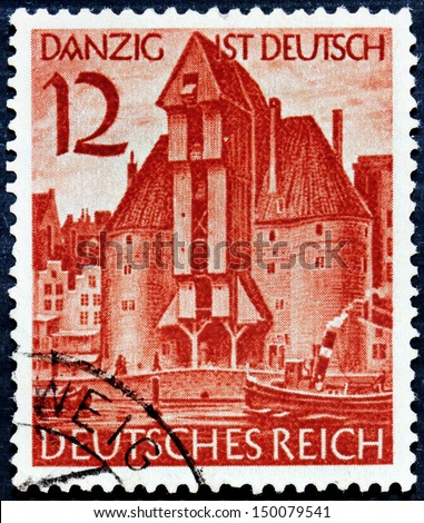 GERMANY - CIRCA 1939: A stamp printed by Germany shows view of Gdansk (Danzig) town, circa 1939 - stock photo