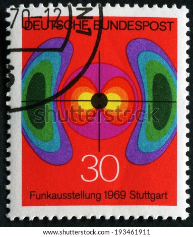 GERMANY - CIRCA 1969: A stamp printed in Federal Republic of Germany honoring German Radio Exhibition, Stuttgart, shows Electromagnetic Field , circa 1969