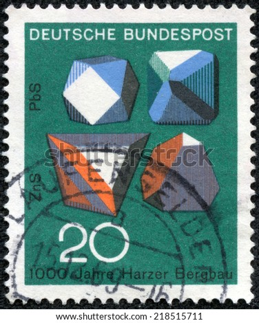 GERMANY - CIRCA 1968: A stamp printed in Federal Republic of Germany honoring 1000 years of Harzer Bergbau mines, shows Ore Crystals, Millenary of ore mining in Harz Mountains, circa 1968 - stock photo