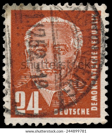 GERMANY - CIRCA 1952: a stamp printed in GDR shows first president Wilhelm Pieck (politician, communist), circa 1952