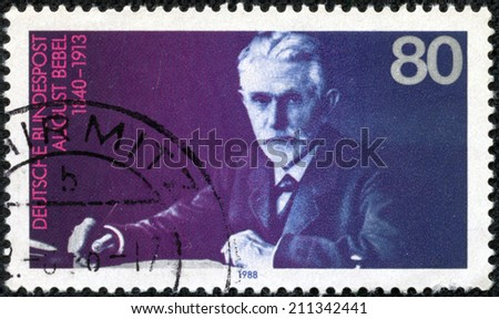 GERMANY - CIRCA 1988: A stamp printed in German Federal Republic shows August Bebel (1840-1913), Founder of the Social Democratic Party, circa 1988