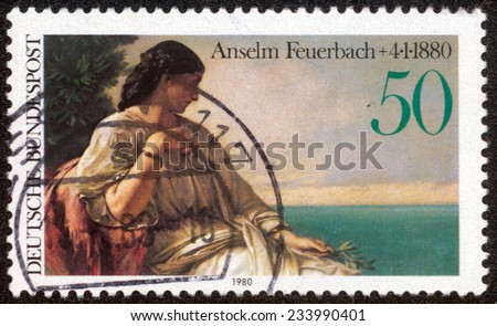 GERMANY - CIRCA 1980: A stamp printed in German Federal Republic shows Iphigenia by Anselm Feuerbach, circa 1980 - stock photo