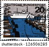 GERMANY -CIRCA 1964:A Stamp printed in German Federal Republic shows Kiel is the capital and most populous city of the northern German state Schleswig-Holstein, circa 1964 - stock photo