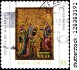 GERMANY - CIRCA 2008: A stamp printed in German Federal Republic shows painting created in 1350 for Cologne convent of St. Clare of a Cologne workshop , depicts Magi to adore Child Jesus, circa 2008 - stock photo