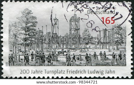 GERMANY - CIRCA 2011: A stamp printed in Germany, dedicated to 200 years of gymnastic place Friedrich Ludwig Jahn, circa 2011