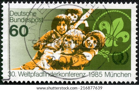 GERMANY - CIRCA 1985: A stamp printed in Germany from shows world scout conference, circa 1985 - stock photo