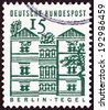 "GERMANY - CIRCA 1964: A stamp printed in Germany from the ""German Building Structures of the 12th Century "" issue shows Tegel Castle, Berlin, circa 1964.  - stock photo"