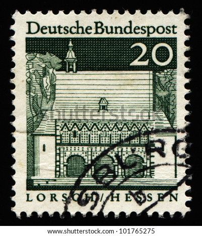 "GERMANY - CIRCA 1966: A stamp printed in Germany from the ""Historic Buildings"" issue showing Carolingian gatehall, Lorsch, circa 1966."