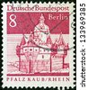 "GERMANY - CIRCA 1964: A stamp printed in Germany from the ""Historic Buildings"" issue shows Pfalzgrafenstein Castle, Pfalz Island, circa 1964. - stock photo"