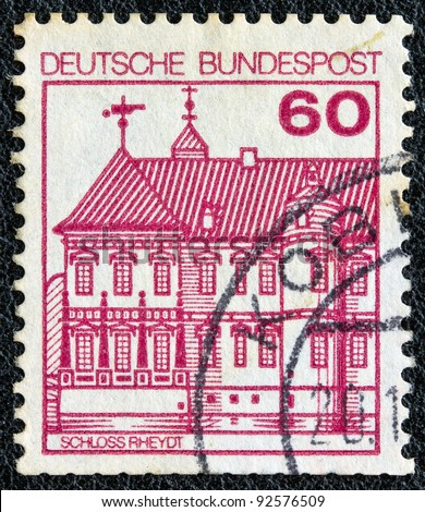 "GERMANY - CIRCA 1977: A stamp printed in Germany from the ""Strongholds and castles"" issue shows Rheydt castle, circa 1977."