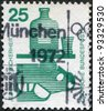 GERMANY - CIRCA 1971: A stamp printed in Germany, is dedicated to Accident prevention is shown Alcohol and automobile, circa 1971 - stock photo