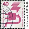 GERMANY - CIRCA 1972: A stamp printed in Germany, is dedicated to Accident prevention, shows a Defective plug, circa 1972 - stock photo
