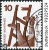 GERMANY - CIRCA 1972: A stamp printed in Germany, is dedicated to Accident prevention shows Broken ladder, circa 1972 - stock photo