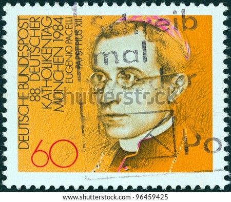 GERMANY - CIRCA 1984: A stamp printed in Germany issued for the 88th German Catholics Congress, Munich, shows Eugenio Pacelli (Pope Pius XII), circa 1984.