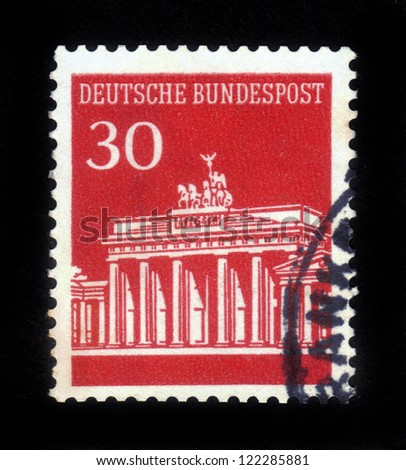 GERMANY - CIRCA 1966: A stamp printed in Germany showing Brandenburg Gate, Berlin, circa 1966.