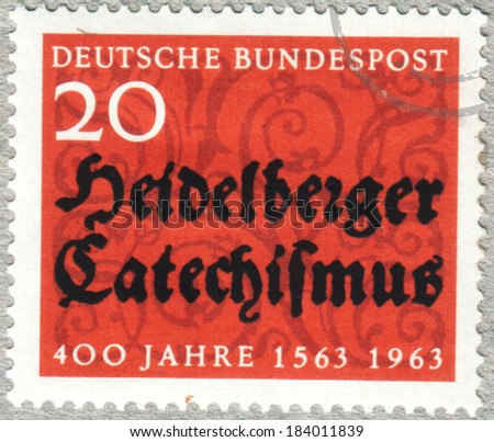 GERMANY - CIRCA 1963: A stamp printed in Germany showing Heidelberg Catechism, circa 1963. - stock photo