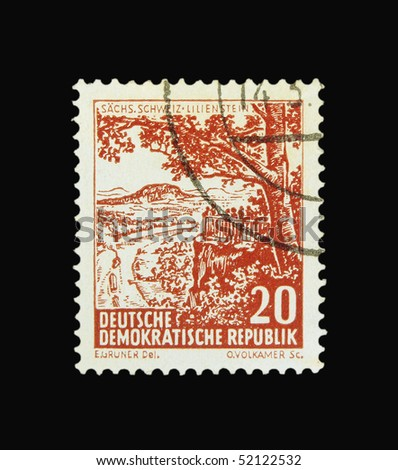 GERMANY - CIRCA 1956: A stamp printed in Germany showing Sachs Schweiz Lilienstein, circa 1956