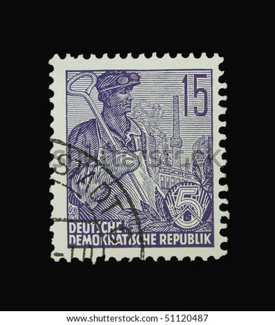 GERMANY - CIRCA 1955: A stamp printed in Germany showing worker, circa 1955