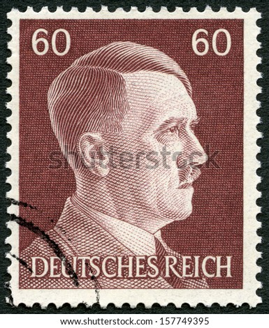 GERMANY - CIRCA 1941: A stamp printed in Germany shows Adolph Hitler (1889-1945), circa 1941  - stock photo