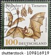 GERMANY - CIRCA 1999: A stamp printed in Germany shows bats, circa 1999 - stock photo
