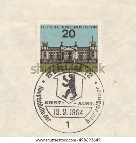 GERMANY-CIRCA 1964:A stamp printed in Germany,shows Berlin,Reichstag building. Capitals of the states of the Federal Republic of Germany,circa 1964.