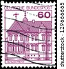 """GERMANY - CIRCA 1977: A stamp printed in Germany shows Castle in Rheydt, with the same inscription, from the series """"German Castles"""", circa 1977 - stock photo"""