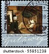 "GERMANY - CIRCA 2009: A stamp printed in Germany shows draw ""The Poor Poet"" by Carl Spitzweg, circa 2009 - stock photo"