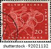 GERMANY - CIRCA 1960: A stamp printed in Germany shows Greek javelin and discus throwers, circa 1960 - stock photo