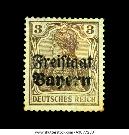 GERMANY - CIRCA 1922: A stamp printed in Germany shows image of a woman, circa 1922